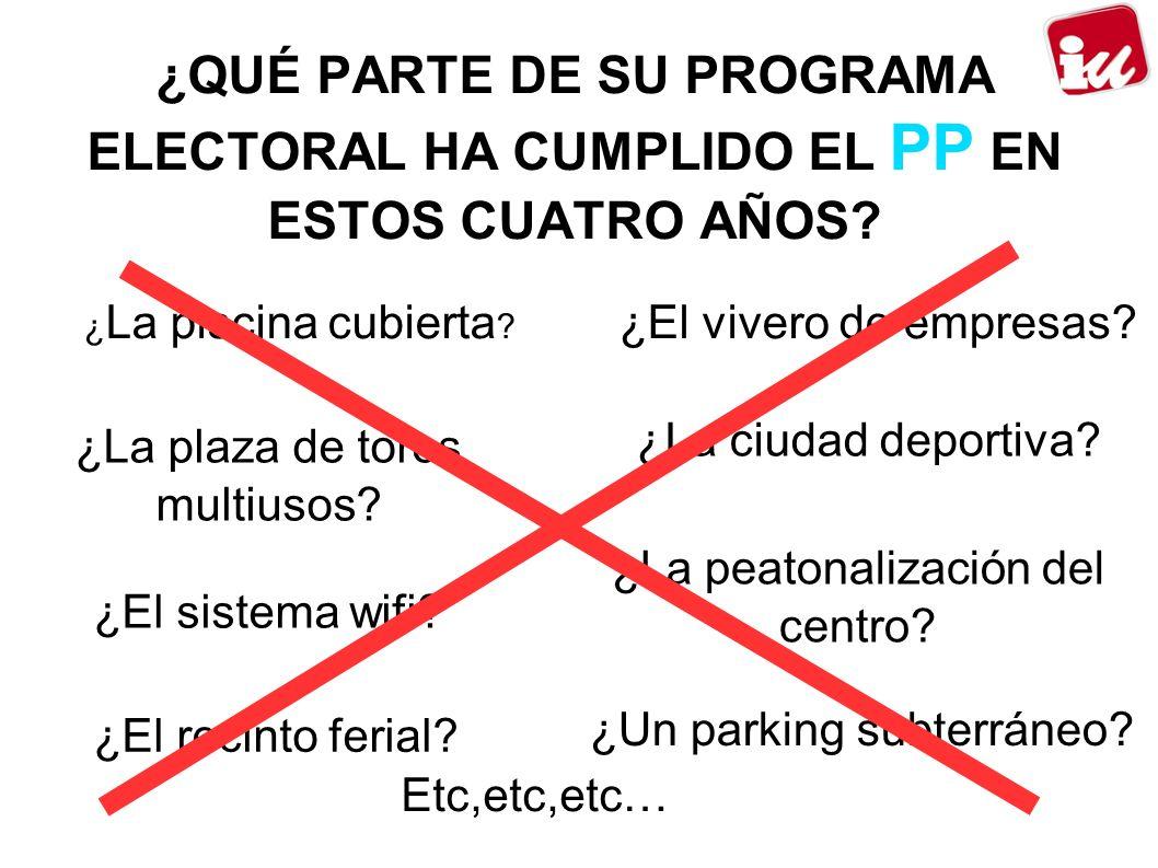 ¿QUÉ PARTE DE SU PROGRAMA ELECTORAL HA CUMPLIDO EL PP EN ESTOS CUATRO AÑOS