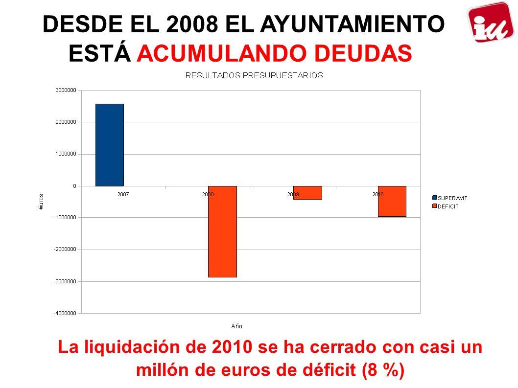 DESDE EL 2008 EL AYUNTAMIENTO ESTÁ ACUMULANDO DEUDAS