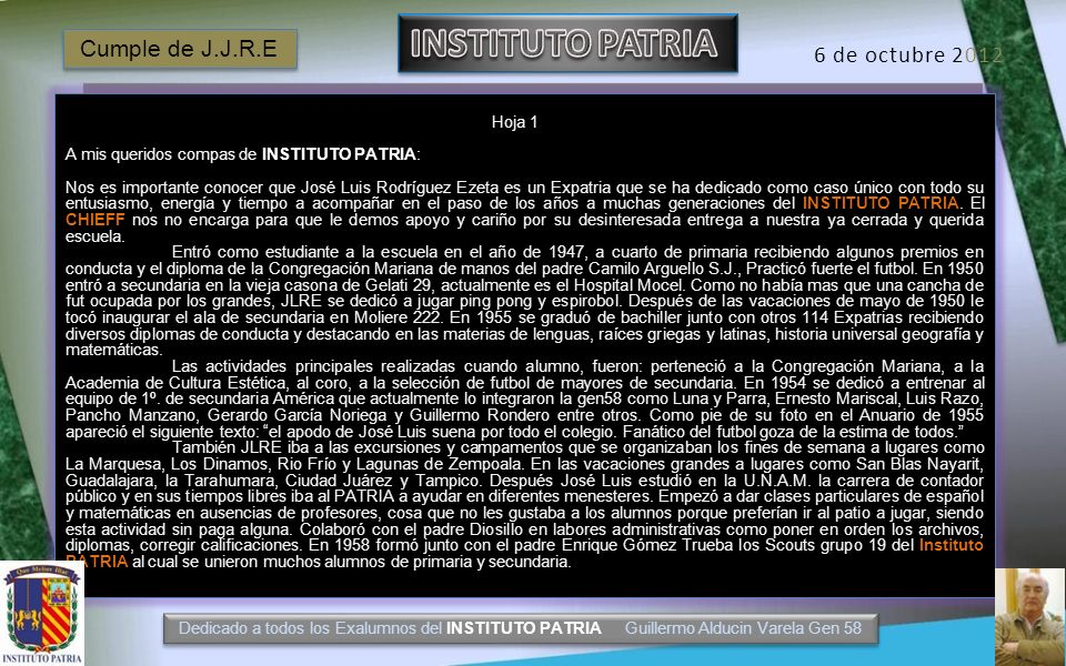 INSTITUTO PATRIA Cumple de J.J.R.E 6 de octubre 2012 Hoja 1