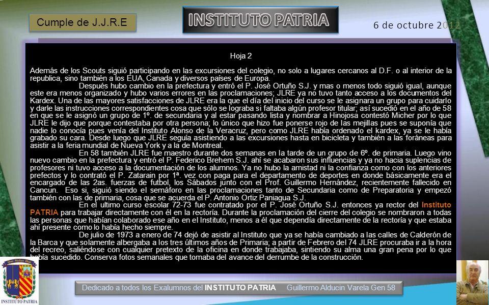 INSTITUTO PATRIA Cumple de J.J.R.E 6 de octubre 2012 Hoja 2