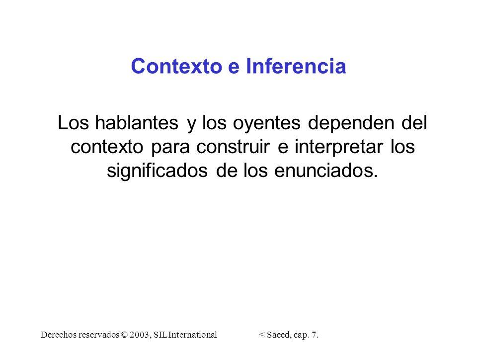Contexto e Inferencia Los hablantes y los oyentes dependen del contexto para construir e interpretar los significados de los enunciados.