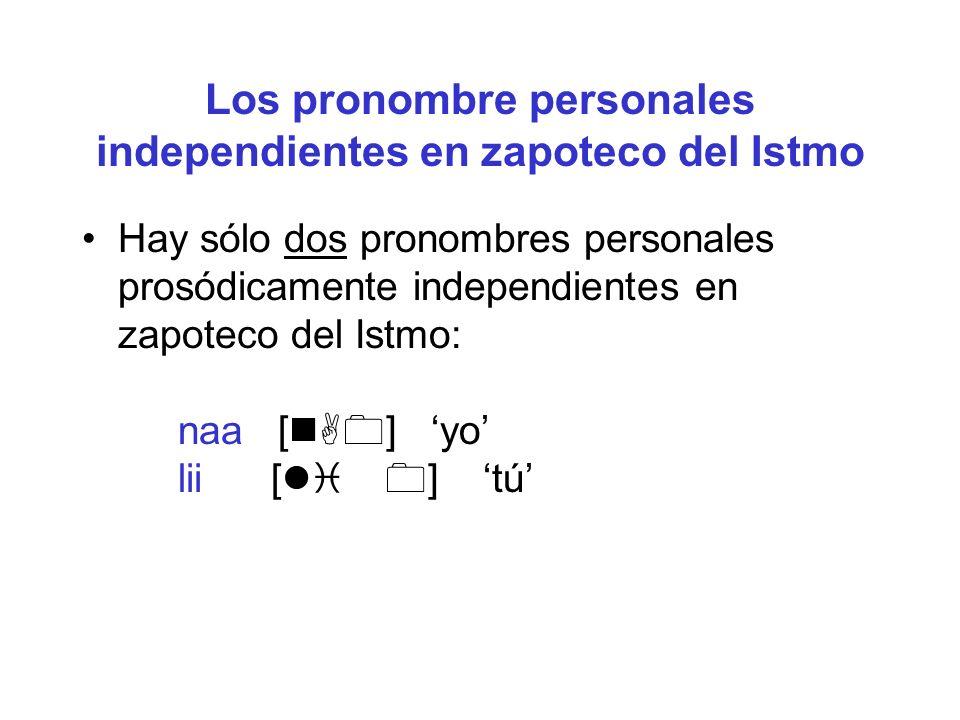 Los pronombre personales independientes en zapoteco del Istmo