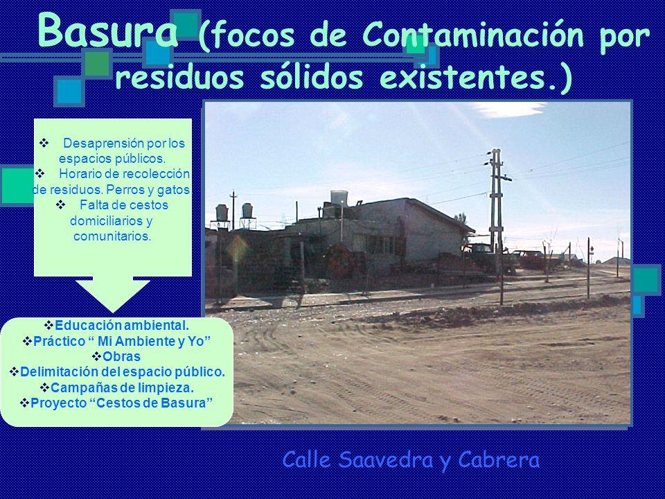 Basura (focos de Contaminación por residuos sólidos existentes.)