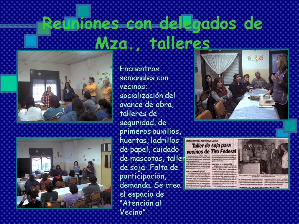 Reuniones con delegados de Mza., talleres