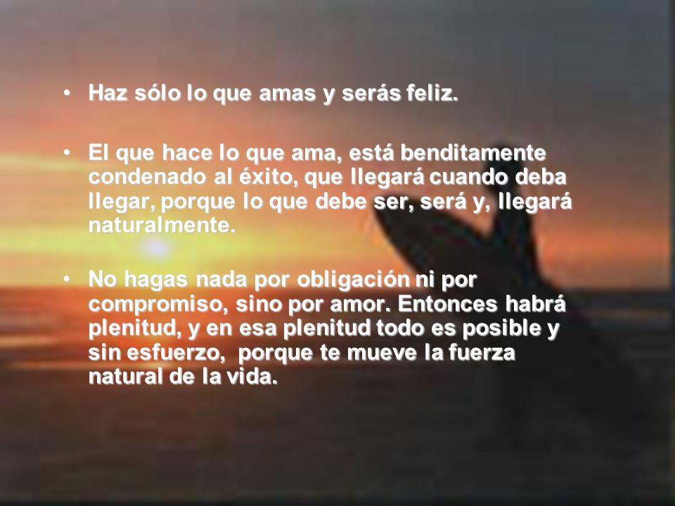 Haz sólo lo que amas y serás feliz.
