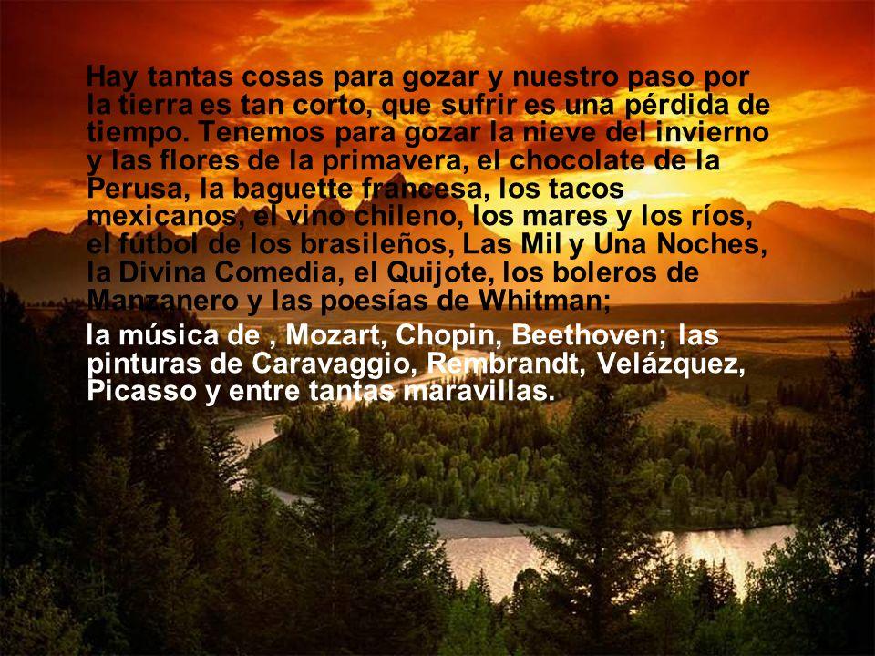 Hay tantas cosas para gozar y nuestro paso por la tierra es tan corto, que sufrir es una pérdida de tiempo. Tenemos para gozar la nieve del invierno y las flores de la primavera, el chocolate de la Perusa, la baguette francesa, los tacos mexicanos, el vino chileno, los mares y los ríos, el fútbol de los brasileños, Las Mil y Una Noches, la Divina Comedia, el Quijote, los boleros de Manzanero y las poesías de Whitman;