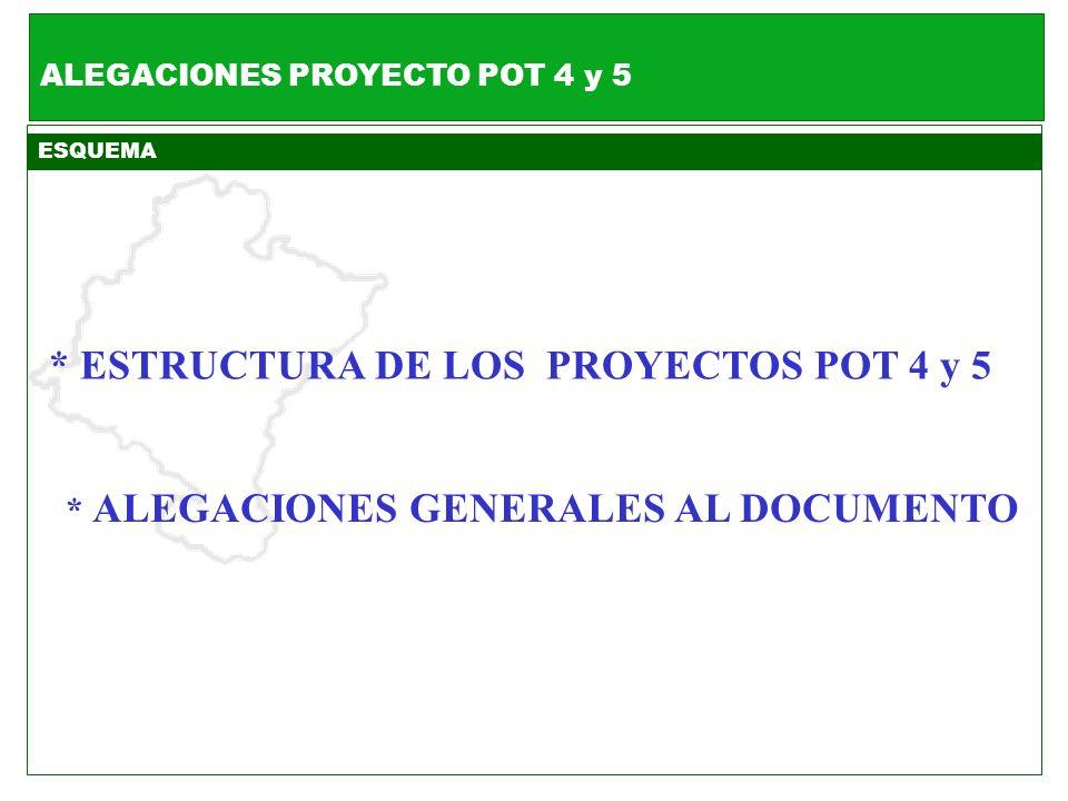 * ESTRUCTURA DE LOS PROYECTOS POT 4 y 5