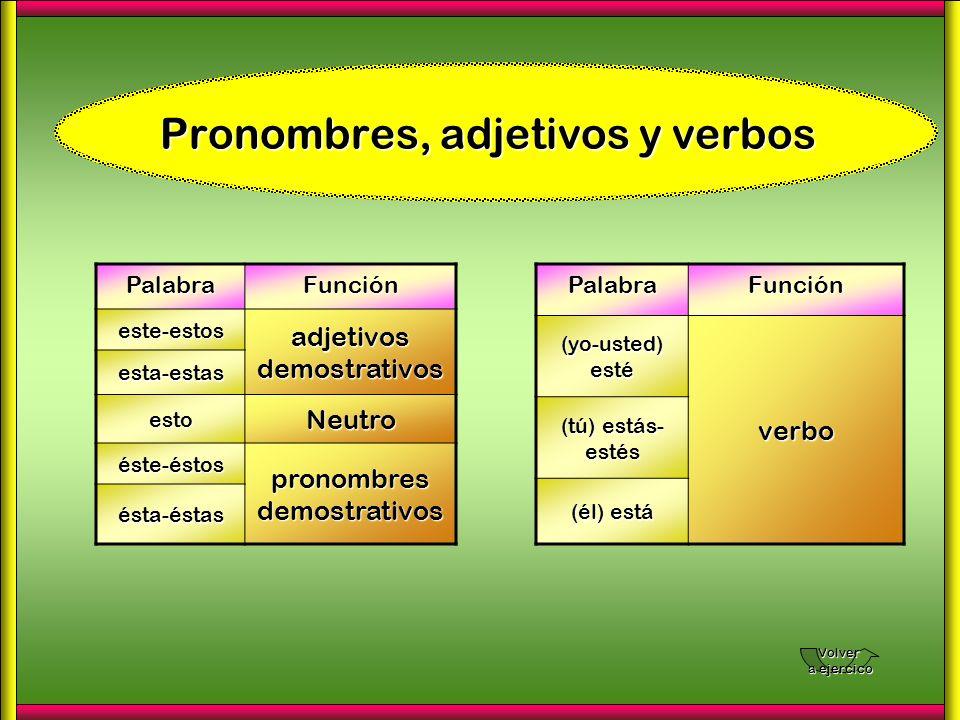 Pronombres, adjetivos y verbos