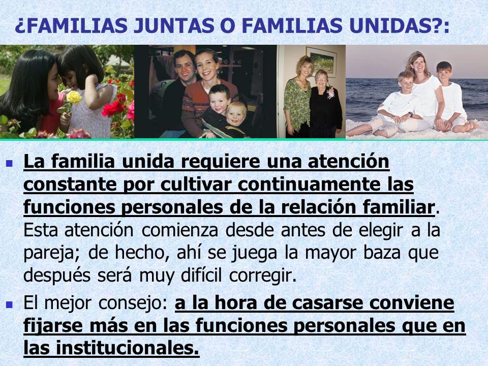 ¿FAMILIAS JUNTAS O FAMILIAS UNIDAS :