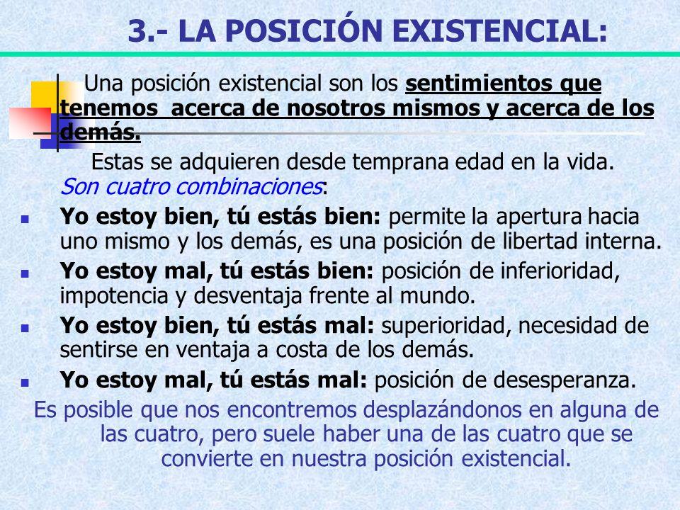 3.- LA POSICIÓN EXISTENCIAL: