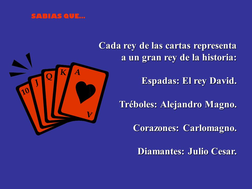 Cada rey de las cartas representa