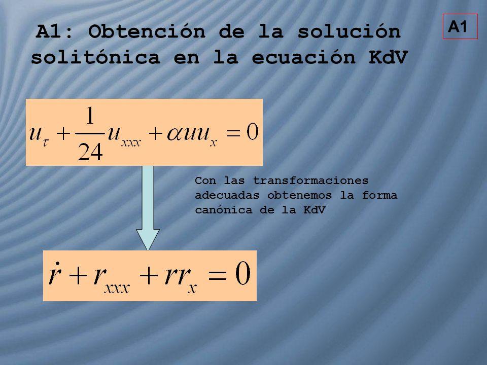 A1: Obtención de la solución solitónica en la ecuación KdV