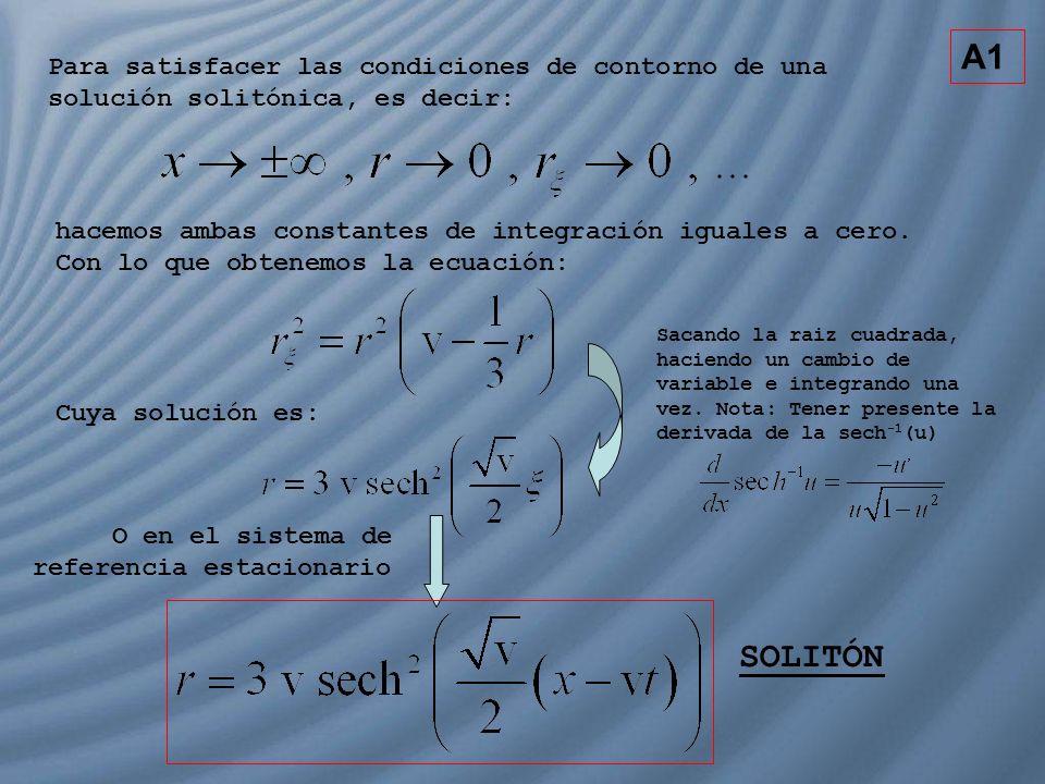 A1 Para satisfacer las condiciones de contorno de una solución solitónica, es decir: