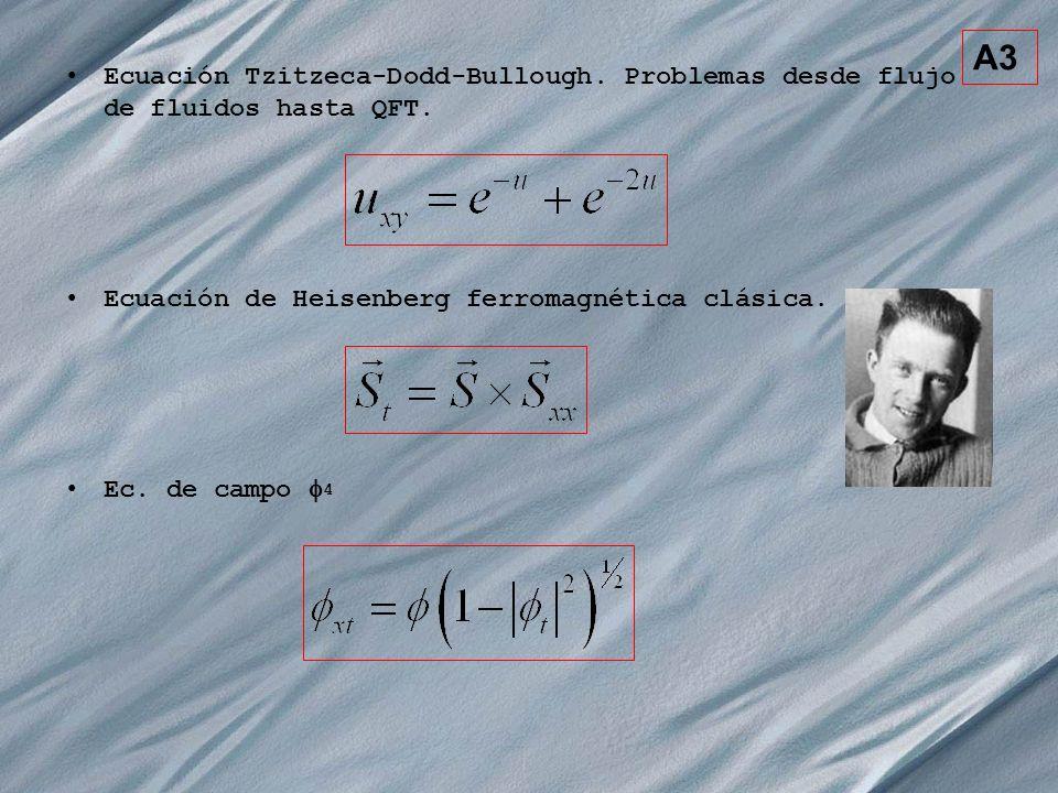 A3 Ecuación Tzitzeca-Dodd-Bullough. Problemas desde flujo de fluidos hasta QFT. Ecuación de Heisenberg ferromagnética clásica.