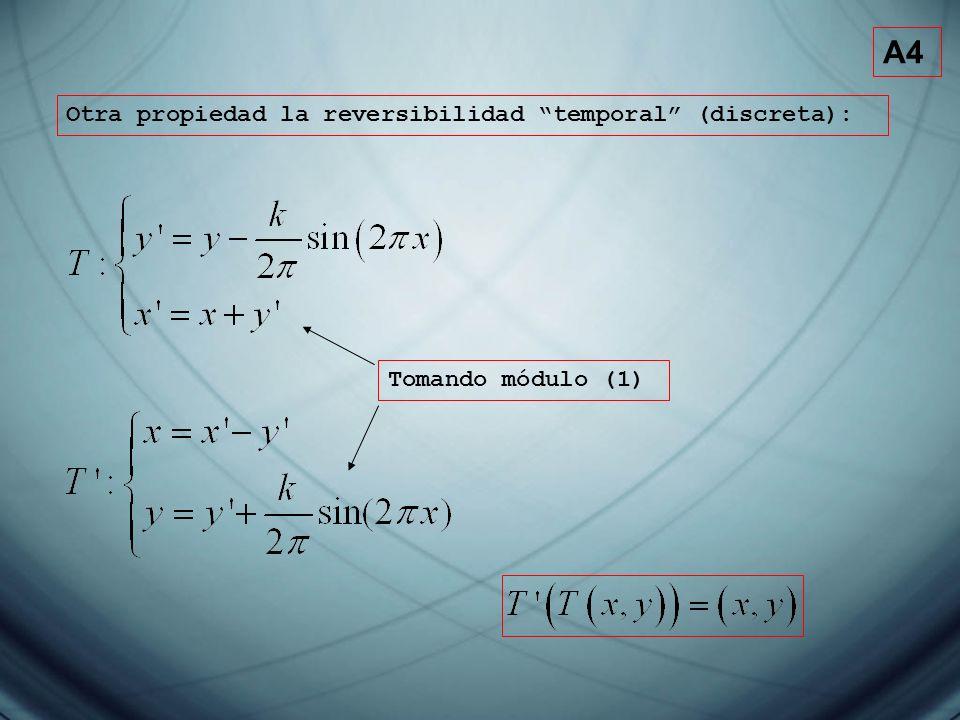 A4 Otra propiedad la reversibilidad temporal (discreta):