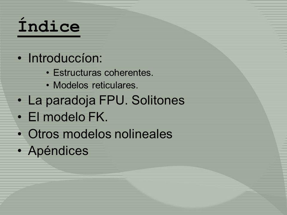 Índice Introduccíon: La paradoja FPU. Solitones El modelo FK.