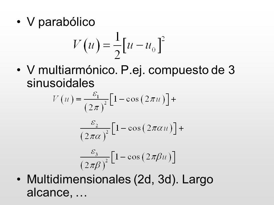 V parabólico V multiarmónico. P.ej. compuesto de 3 sinusoidales.