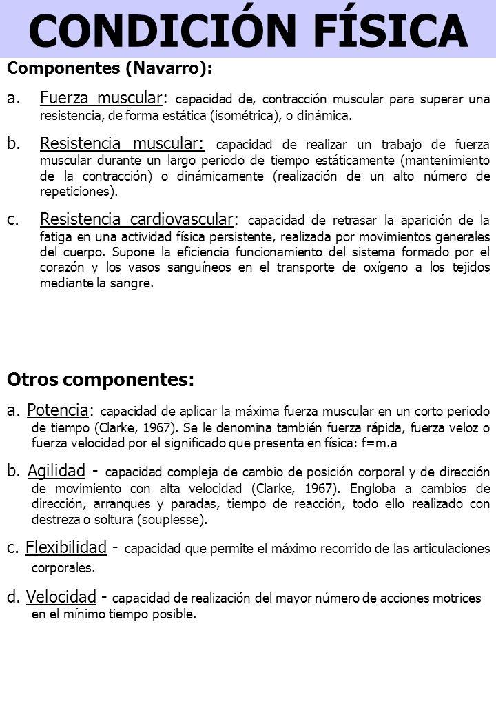 CONDICIÓN FÍSICA Otros componentes: Componentes (Navarro):