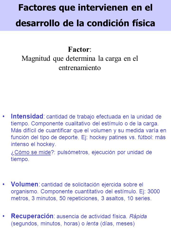 Factores que intervienen en el desarrollo de la condición física