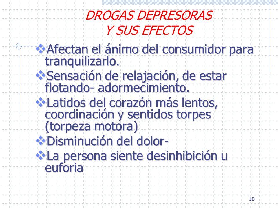 DROGAS DEPRESORAS Y SUS EFECTOS