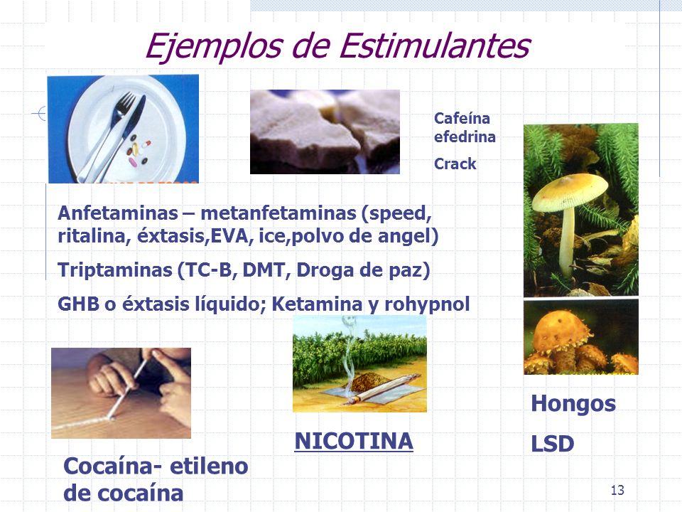 Ejemplos de Estimulantes