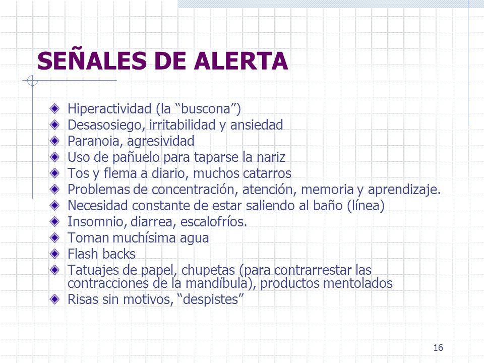 SEÑALES DE ALERTA Hiperactividad (la buscona )