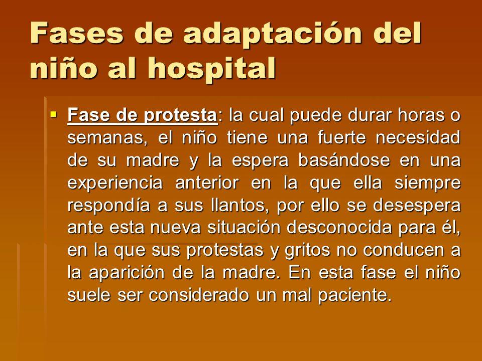 Fases de adaptación del niño al hospital