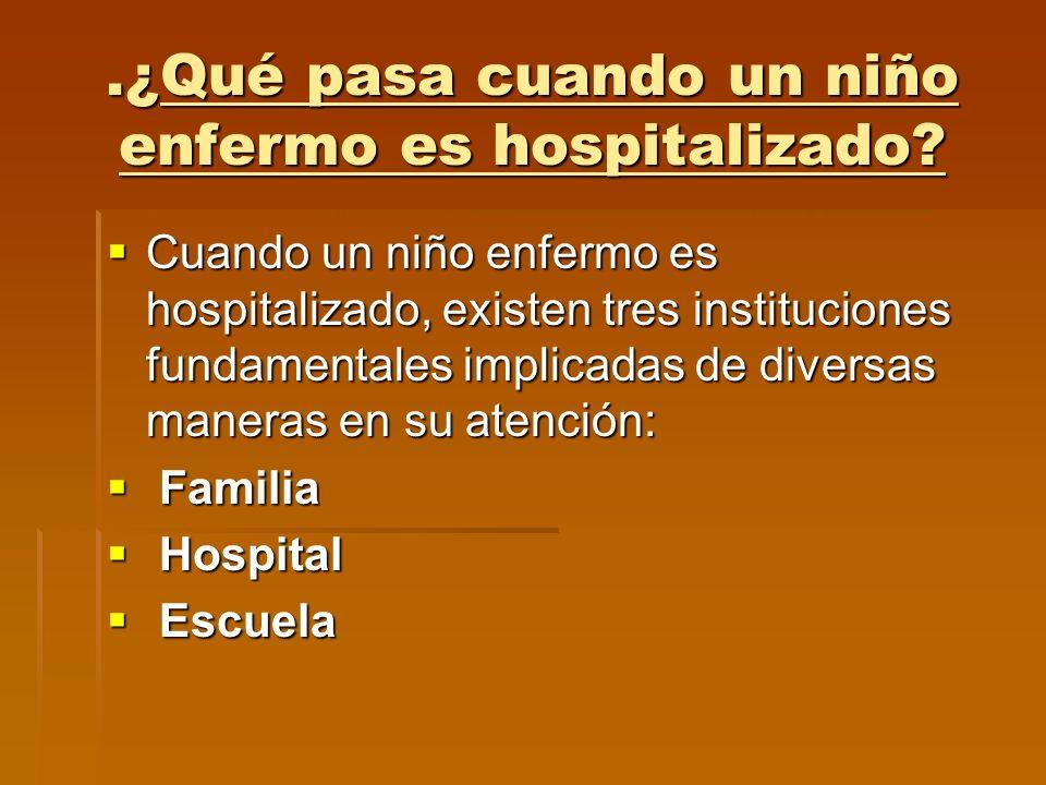 .¿Qué pasa cuando un niño enfermo es hospitalizado