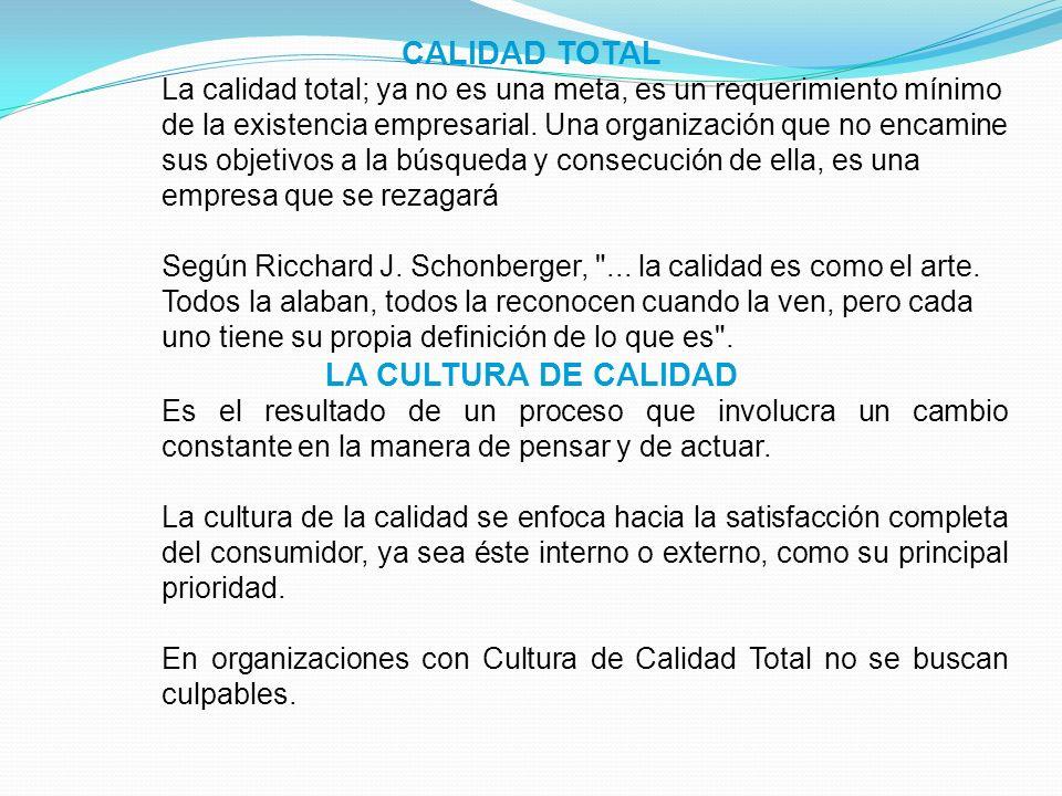 CALIDAD TOTAL LA CULTURA DE CALIDAD