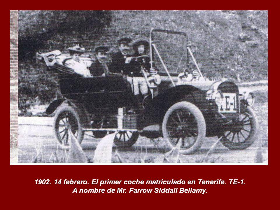 1902. 14 febrero. El primer coche matriculado en Tenerife. TE-1.