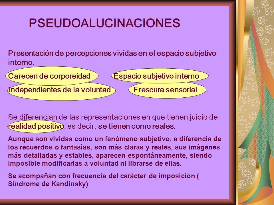 PSEUDOALUCINACIONES Presentación de percepciones vividas en el espacio subjetivo interno. Carecen de corporeidad Espacio subjetivo interno.