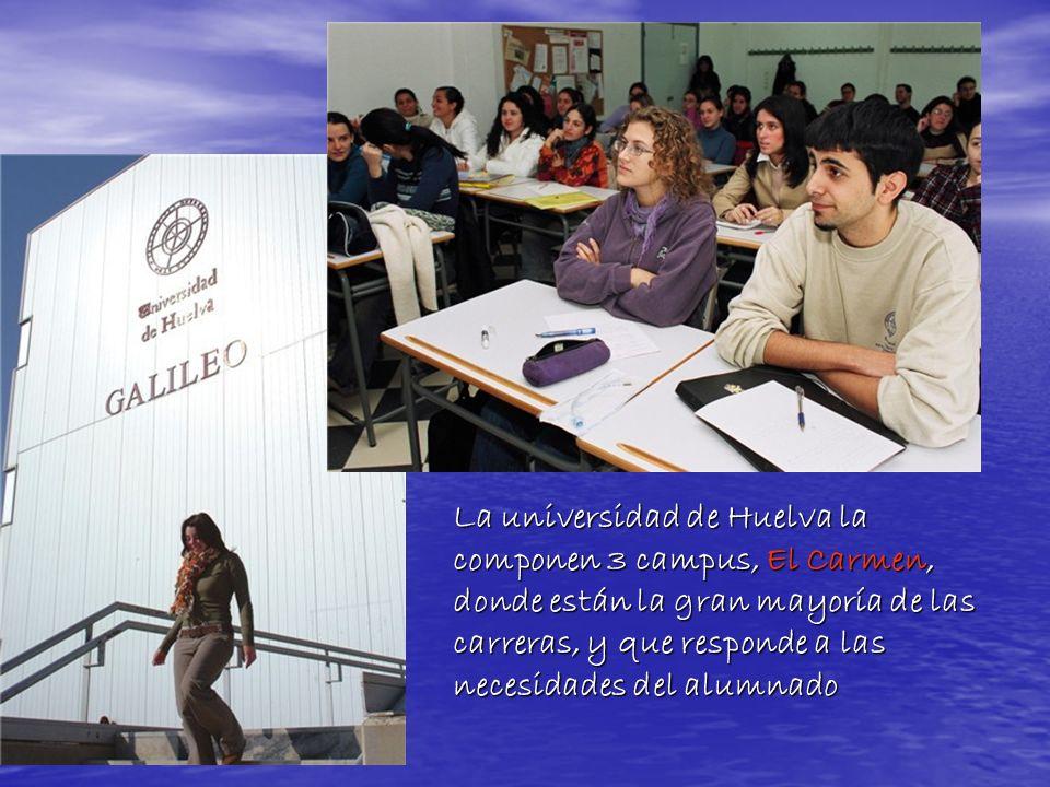 La universidad de Huelva la componen 3 campus, El Carmen, donde están la gran mayoría de las carreras, y que responde a las necesidades del alumnado