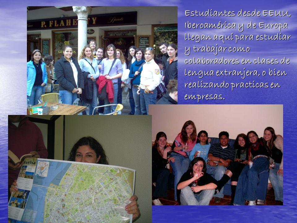 Estudiantes desde EEUU, Iberoamérica y de Europa llegan aquí para estudiar y trabajar como colaboradores en clases de lengua extranjera, o bien realizando practicas en empresas.