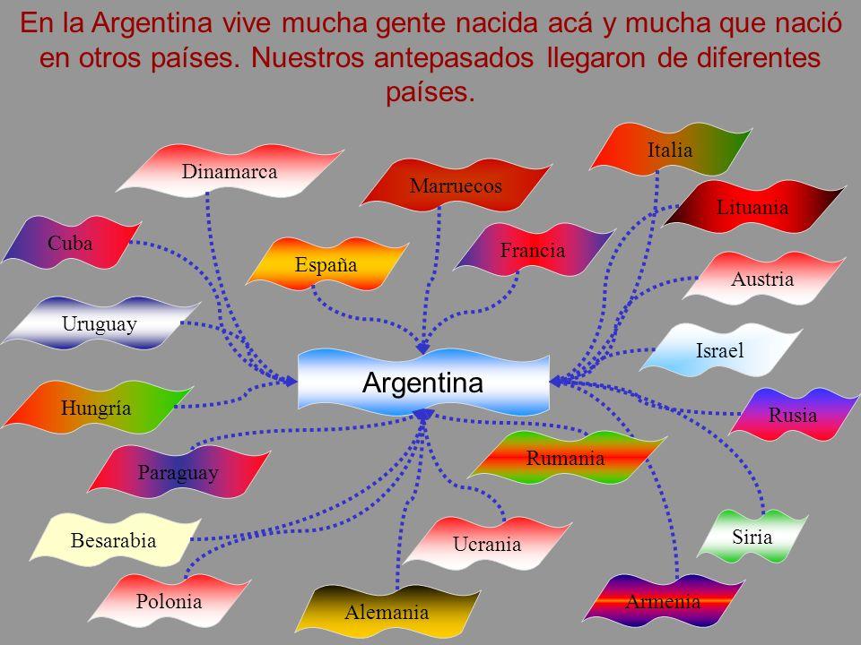 En la Argentina vive mucha gente nacida acá y mucha que nació en otros países. Nuestros antepasados llegaron de diferentes países.