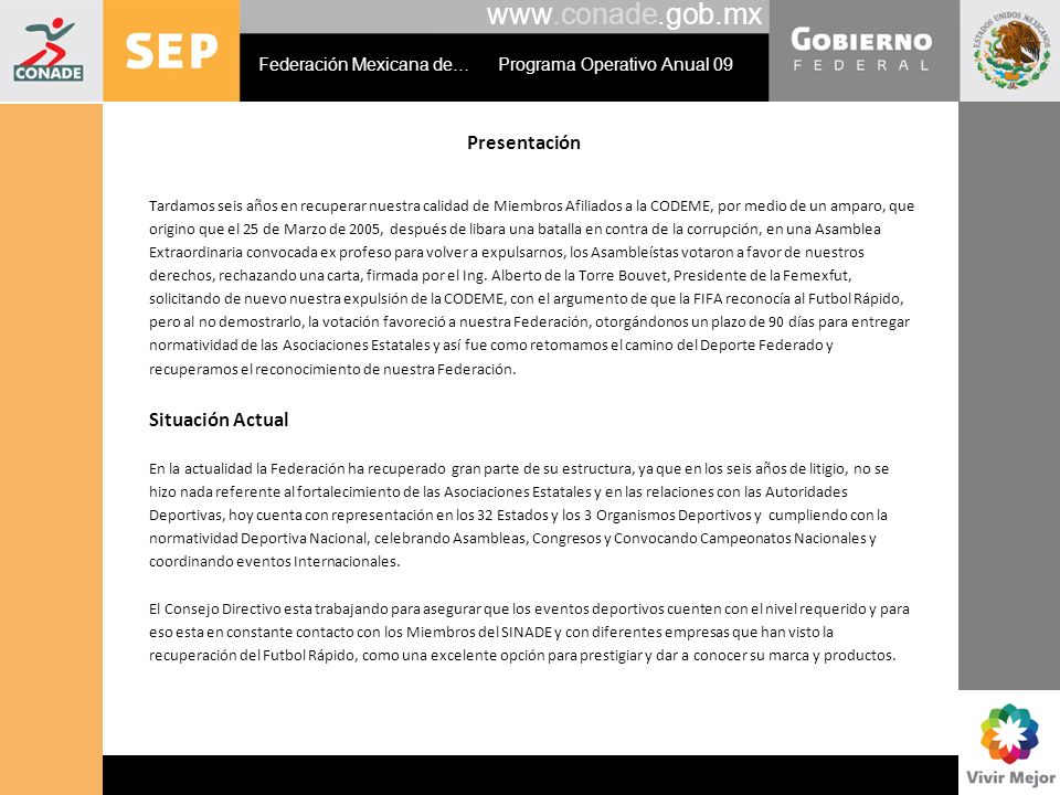 www.conade.gob.mx Presentación Situación Actual