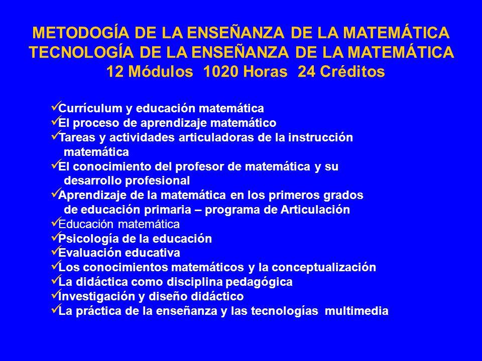 METODOGÍA DE LA ENSEÑANZA DE LA MATEMÁTICA