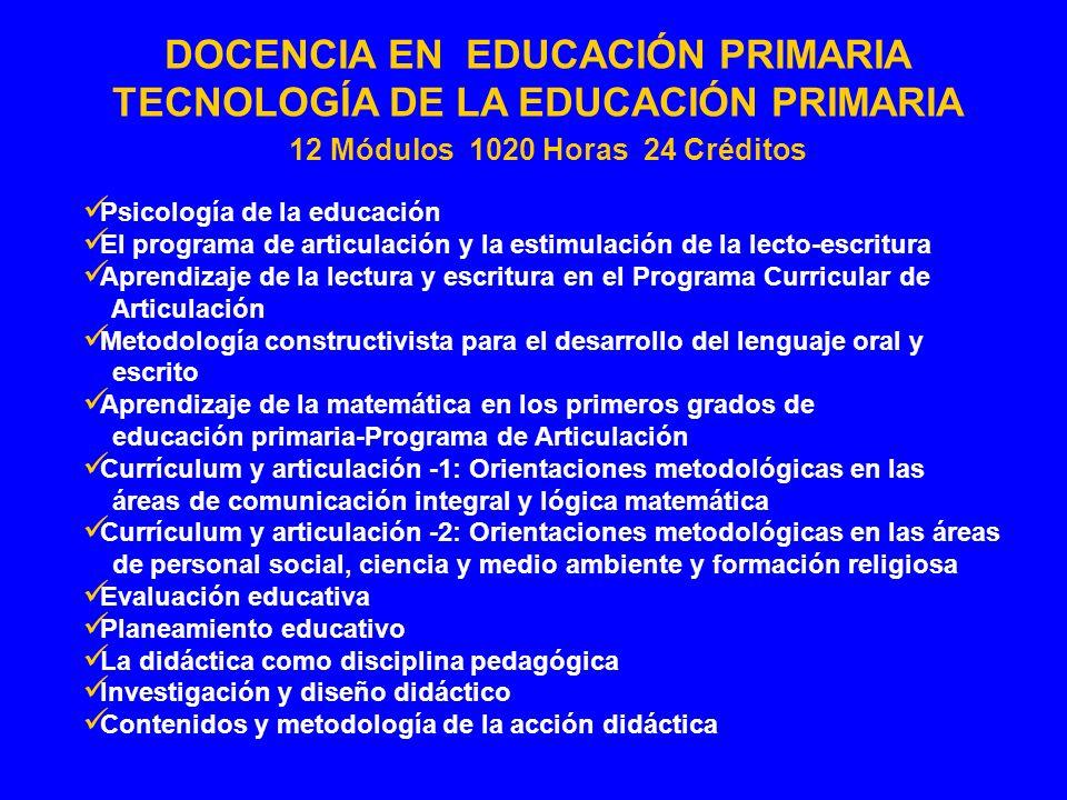 TECNOLOGÍA DE LA EDUCACIÓN PRIMARIA 12 Módulos 1020 Horas 24 Créditos
