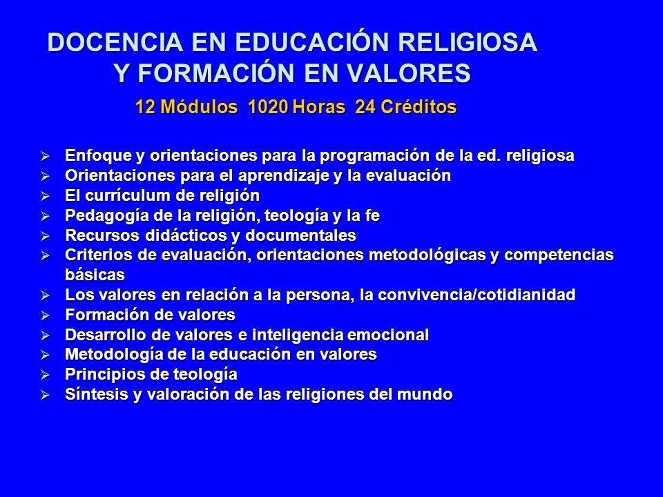 DOCENCIA EN EDUCACIÓN RELIGIOSA Y FORMACIÓN EN VALORES 12 Módulos 1020 Horas 24 Créditos