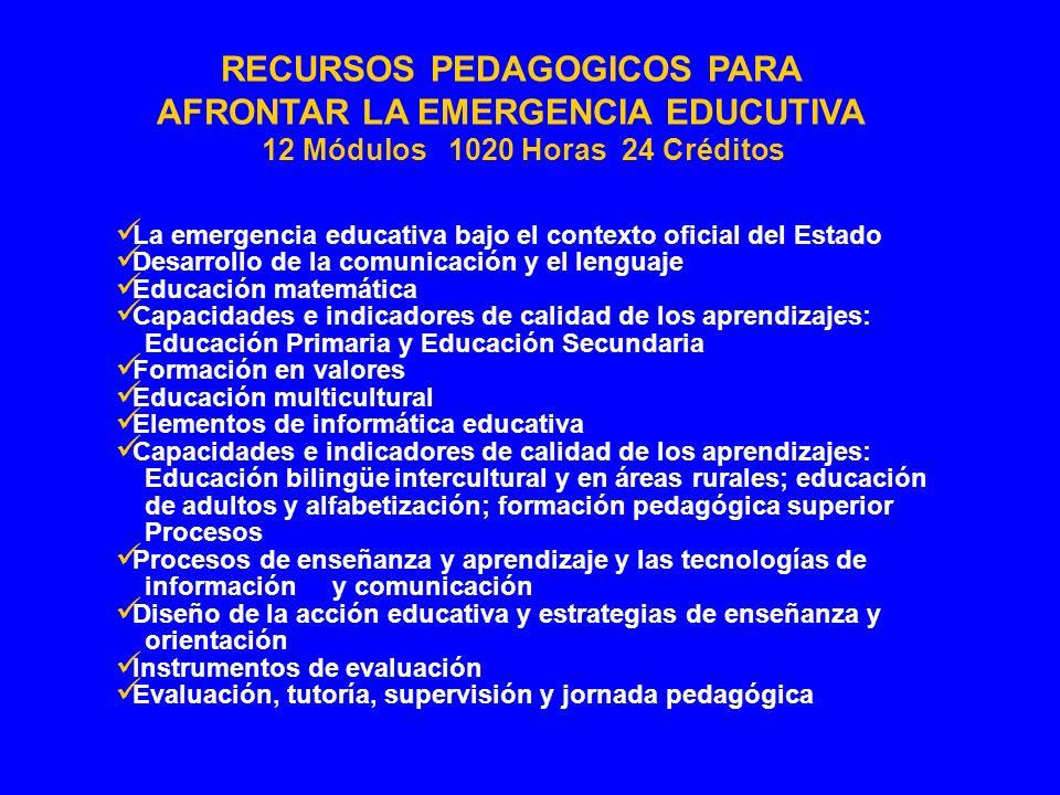 RECURSOS PEDAGOGICOS PARA AFRONTAR LA EMERGENCIA EDUCUTIVA