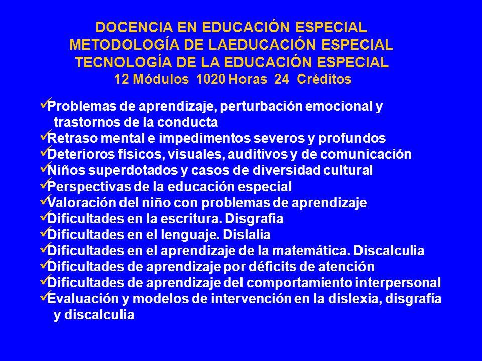 TECNOLOGÍA DE LA EDUCACIÓN ESPECIAL 12 Módulos 1020 Horas 24 Créditos