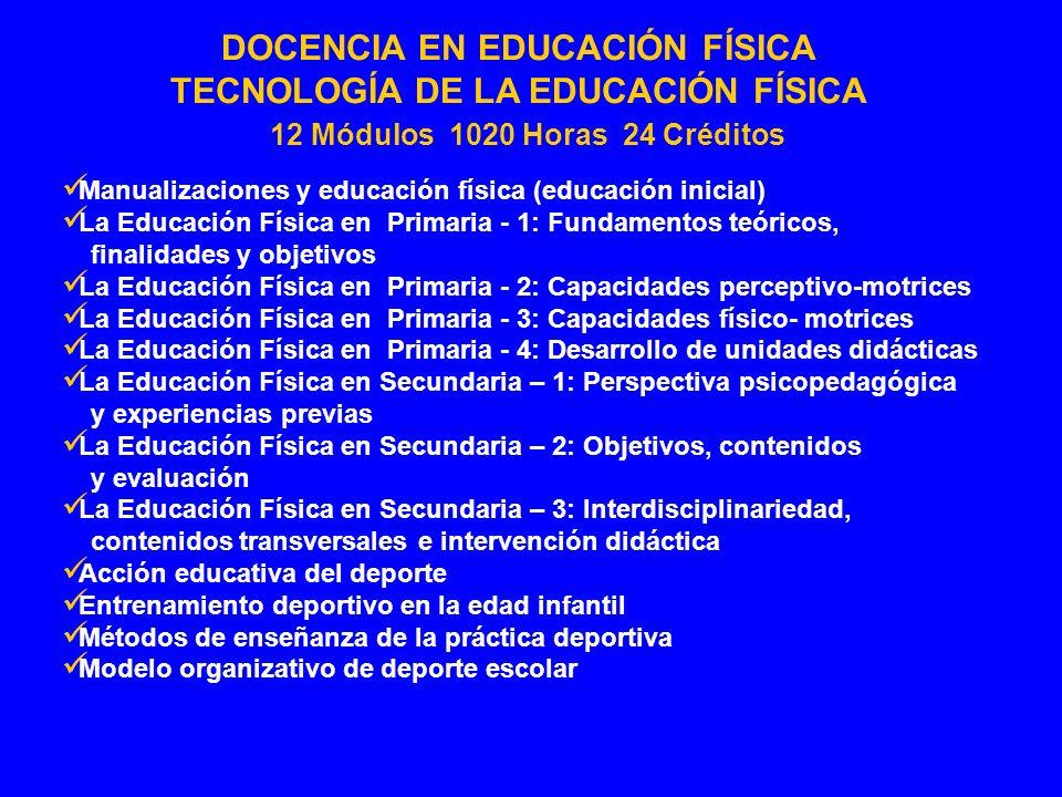 TECNOLOGÍA DE LA EDUCACIÓN FÍSICA 12 Módulos 1020 Horas 24 Créditos