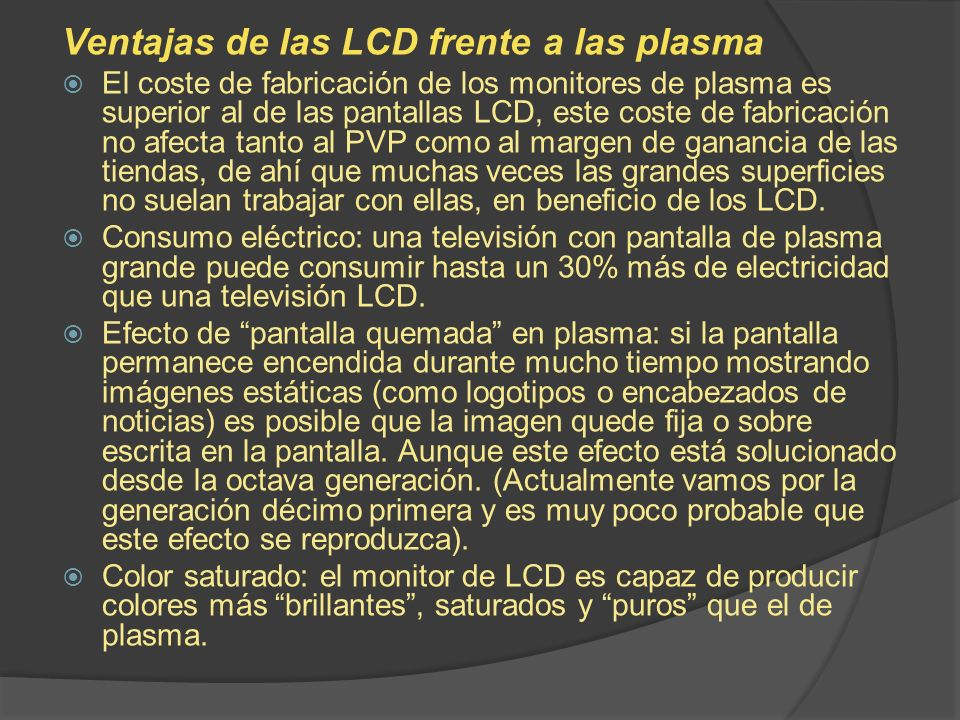 Ventajas de las LCD frente a las plasma