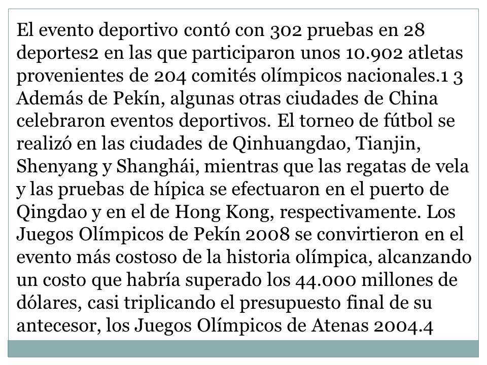 El evento deportivo contó con 302 pruebas en 28 deportes2 en las que participaron unos 10.902 atletas provenientes de 204 comités olímpicos nacionales.1 3 Además de Pekín, algunas otras ciudades de China celebraron eventos deportivos.