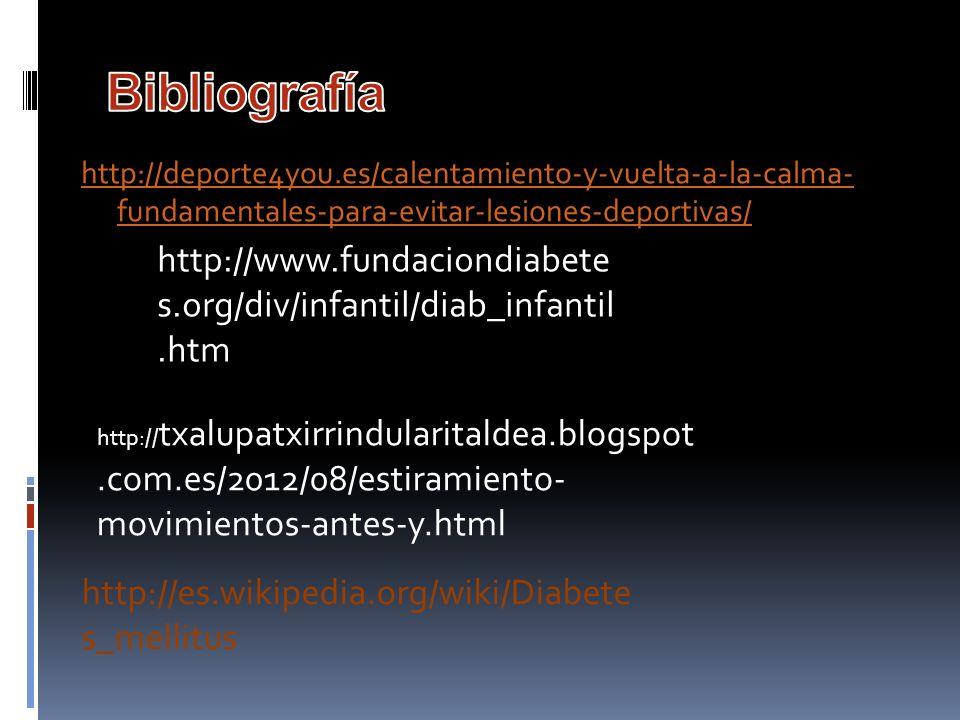Bibliografía http://deporte4you.es/calentamiento-y-vuelta-a-la-calma- fundamentales-para-evitar-lesiones-deportivas/
