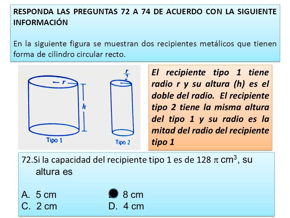 72.Si la capacidad del recipiente tipo 1 es de 128 p cm3, su altura es