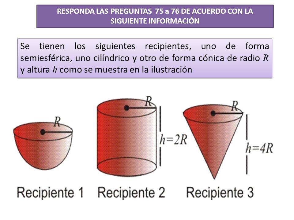 RESPONDA LAS PREGUNTAS 75 a 76 DE ACUERDO CON LA SIGUIENTE INFORMACIÓN