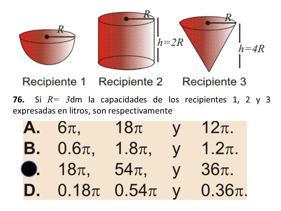 76. Si R= 3dm la capacidades de los recipientes 1, 2 y 3 expresadas en litros, son respectivamente