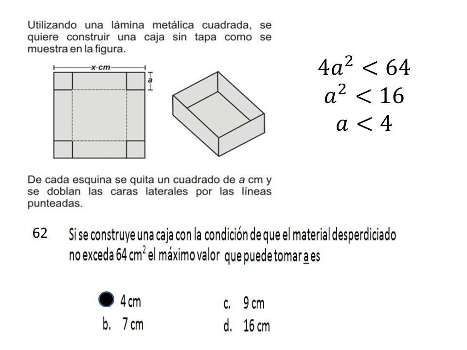 4 𝑎 2 <64 𝑎 2 <16 𝑎<4 62