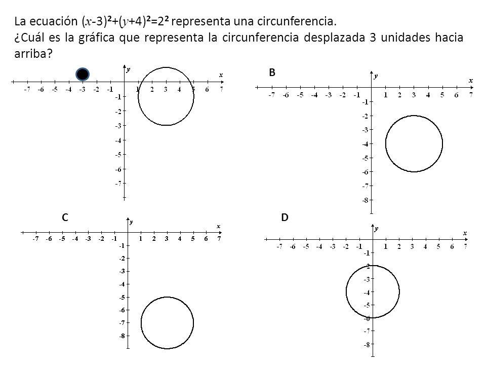 La ecuación (x-3)2+(y+4)2=22 representa una circunferencia.