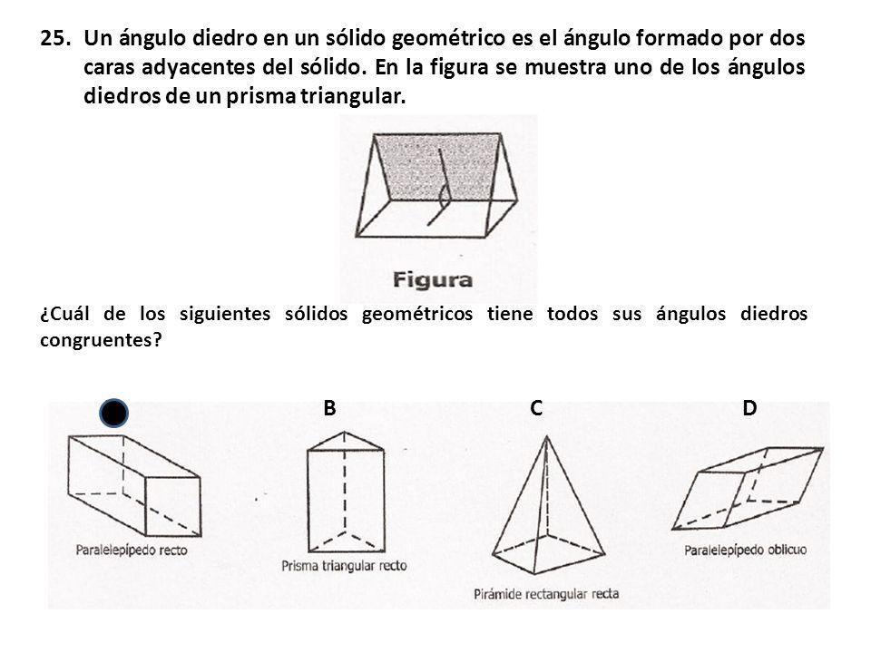 Un ángulo diedro en un sólido geométrico es el ángulo formado por dos caras adyacentes del sólido. En la figura se muestra uno de los ángulos diedros de un prisma triangular.